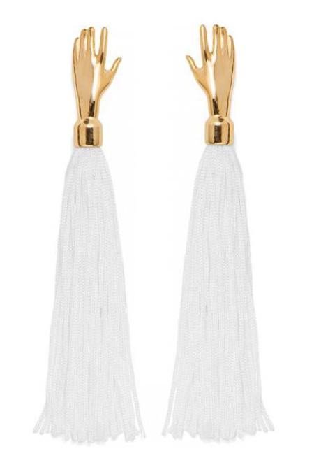 Lady Grey Hand Silk Tassel Earrings