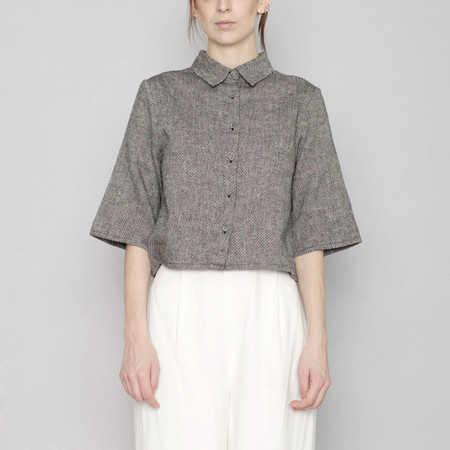 7115 by Szeki Back Pleated Shirt - Black - SS17
