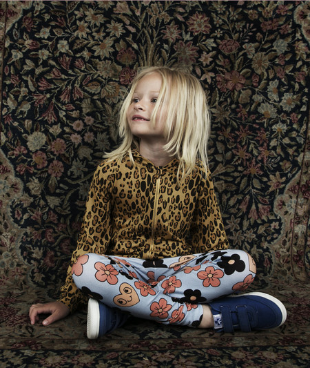 Kid's Mini Rodini LEOPARD PRINT HOODIE SWEATER