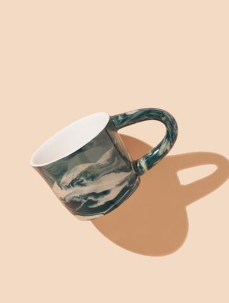 The Pursuits of Happiness Marbled Mug Green