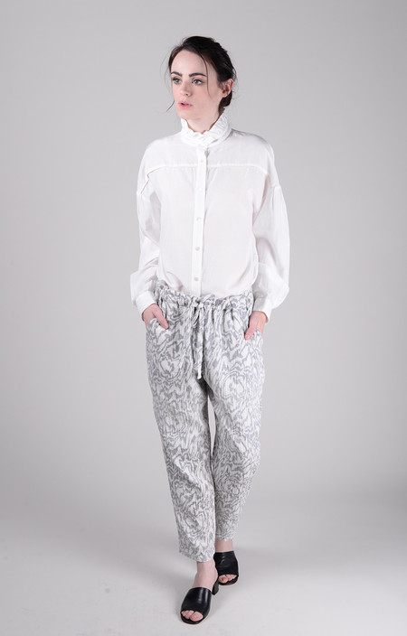 Raquel Allegra Moire Reverse Print Gauze Drawstring Pant