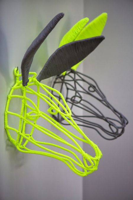 FUDJE WIRE DONKEY Wall art wire donkey woven with shoelaces