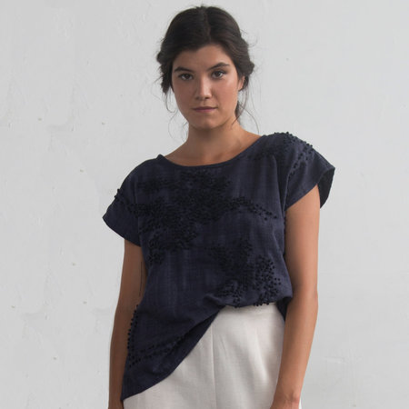 Nikki Chasin Embroidered Poncho Top - Navy