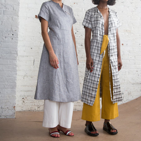 Nikki Chasin Leda Wrap Dress - Chambray Linen