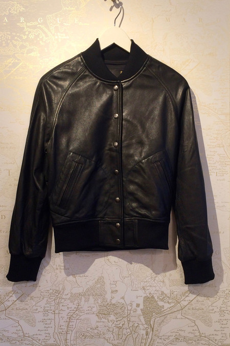 R13 Leather Raglan Varsity Jacket