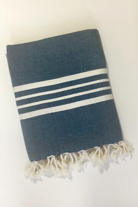 Mandalina Thick Stripe Turkish Towel/Throw, navy
