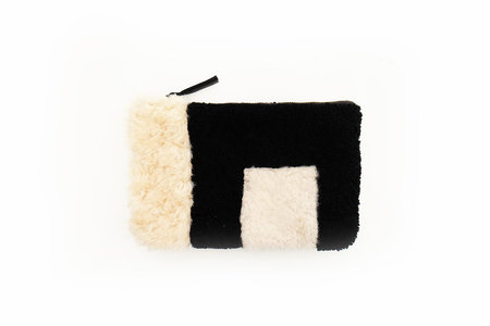 Primecut BLACK AND BEIGE PATCHWORK SHEEPSKIN CLUTCH
