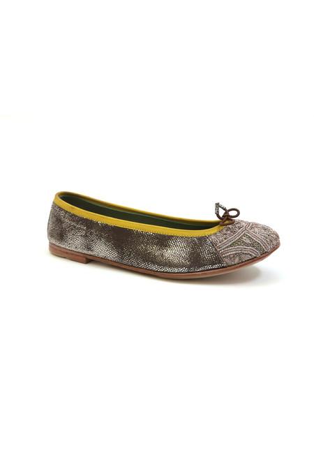 Meher Kakalia Bizi Ballet Flat – Bark Snake Brown + Silver Bead