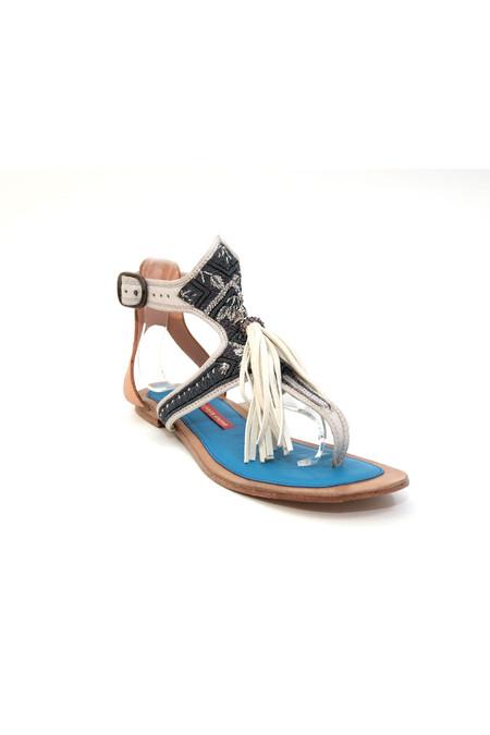 Meher Kakalia Queen Sofia Sandal – Canyon White + Steel