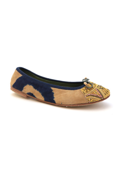 Meher Kakalia Bizi Ballet Flat – Tie Dye Blue with Beige + Lemon