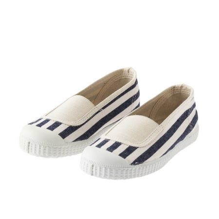 Tocoto No-Lace-Striped-Sneakers-In-Denim-Blue - CouCou Boston