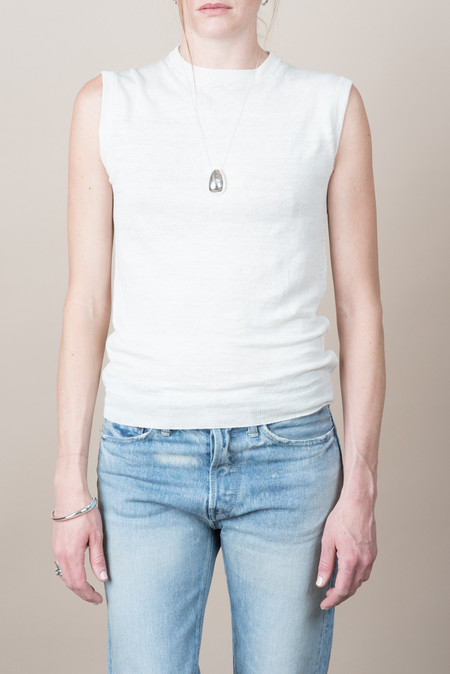 Evam Eva Linen Vest In Antique White