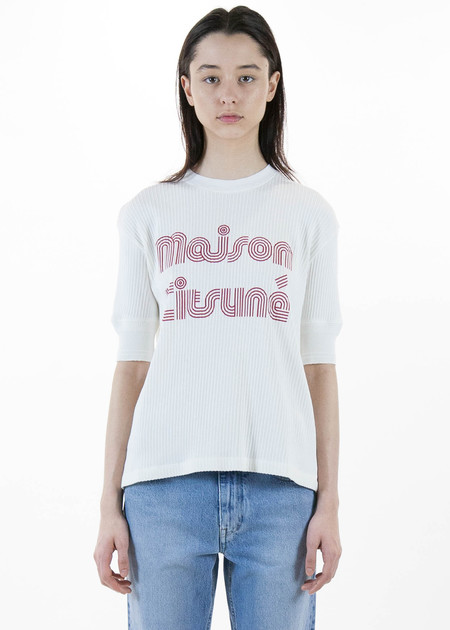 Maison Kitsune Ribbed MK Striped Tee