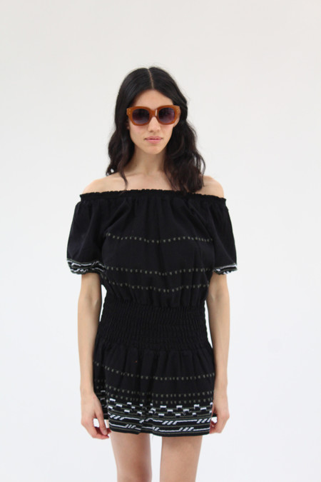 Piper Hand Embroidered Dress Black