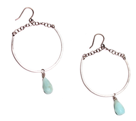 Sarah Dunn Silver Hoops with Peruvian Opal Drops