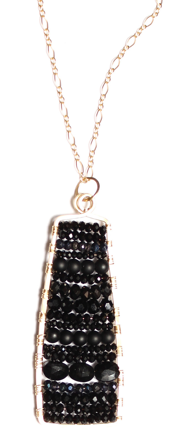 Spinel & Onyx Paddle Necklace