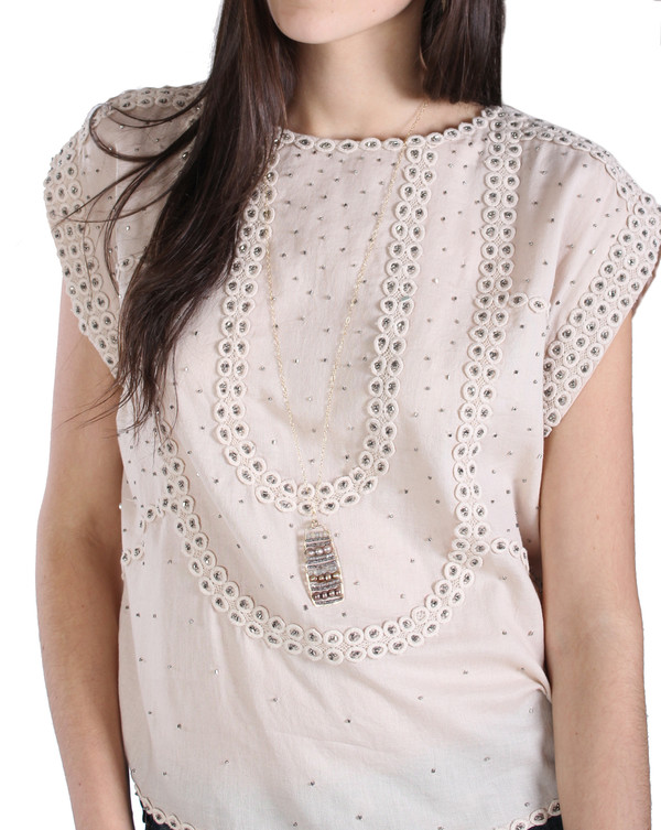 Studded Cotton Blouse