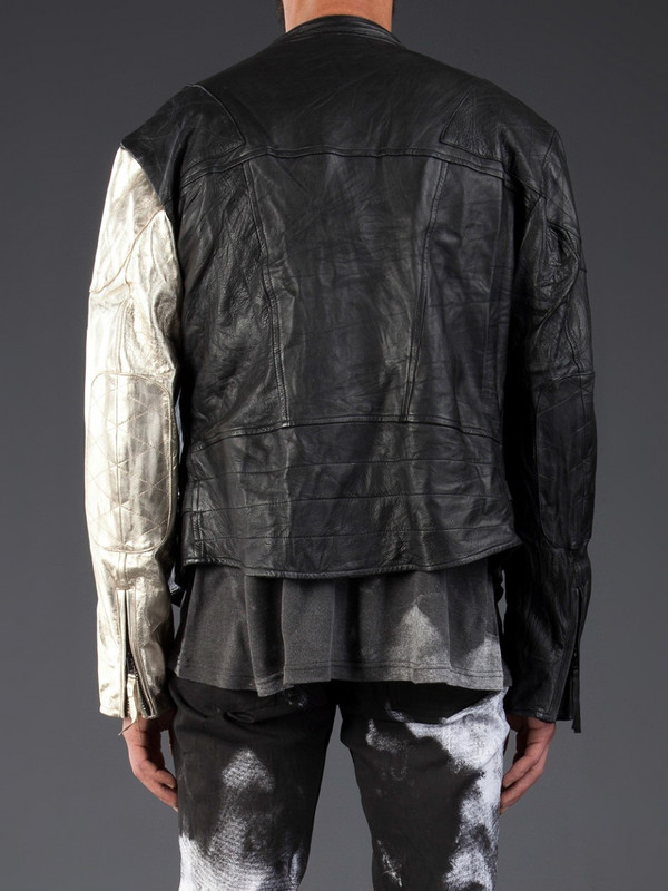 MEN'S HORACE LEATHER BIKER JACKET WITH 1 GOLD SLEEVE