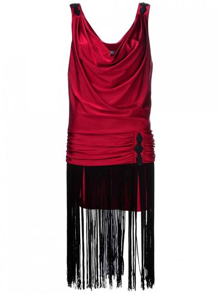 Julia Clancey Flap Fringe Dress Red