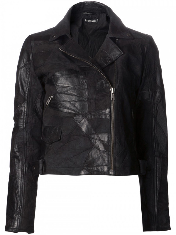 Religion patchwork leather jacket