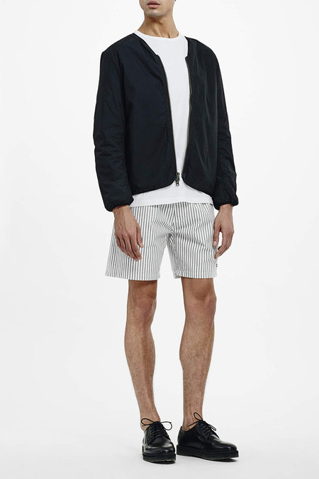 Saturdays NYC Trent Stripe Short | Ivory Charcoal