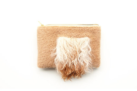 Primecut Tan Furry Patchwork Sheepskin Clutch
