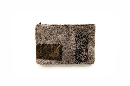 Primecut Green Rectangles Patchwork Sheepskin Clutch