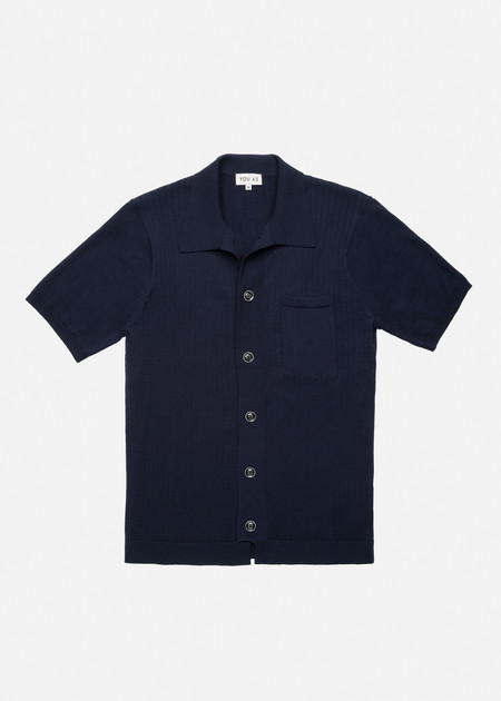 YOU AS Harvey Knit Bowling Shirt in Navy