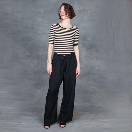 Black Crane Drawstring Pants in Black