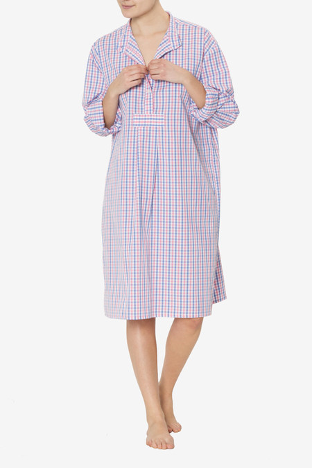 The Sleep Shirt Long Sleep Shirt Blue and Pink Gingham