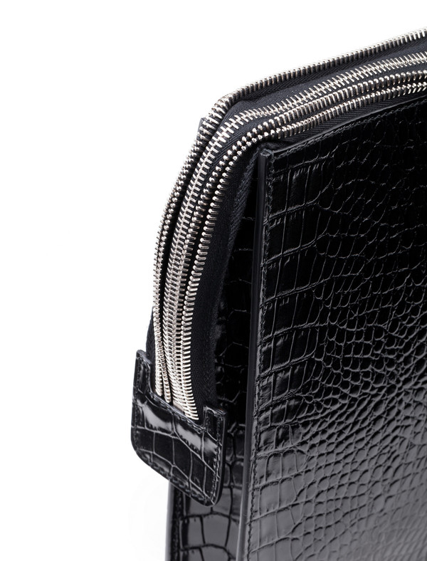 Ely Crocodile Clutch