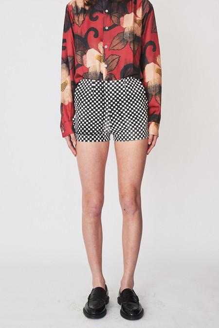 Assembly New York Cotton Checkered Denim Mid-waist Short
