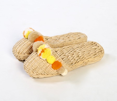 Folk Fortune Banana Yellow pom pom slippers