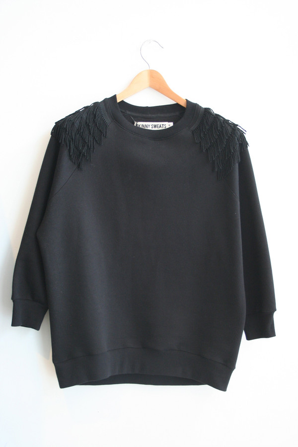 SKINNY SWEATS / OS Sweater short fringe - black