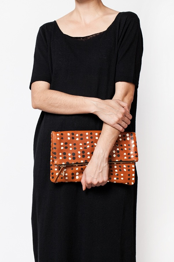 Clare V. Foldover Clutch | tan dots