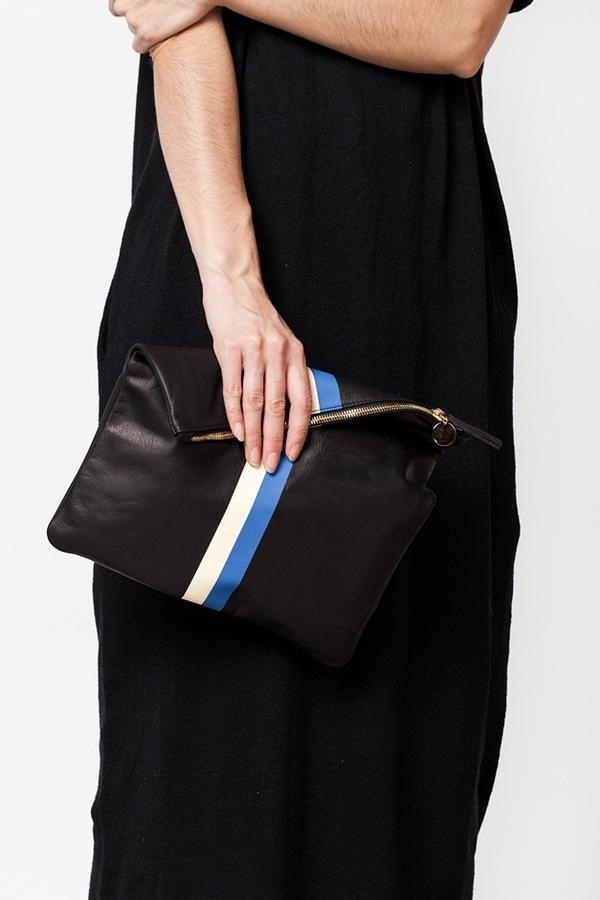 Clare V. Foldover Clutch | black stripe