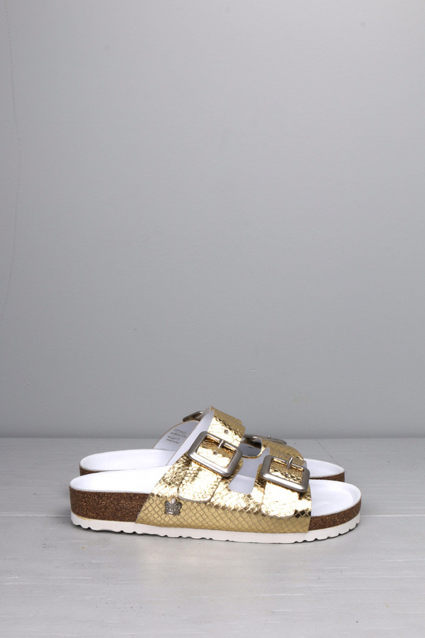 Leather Crown Gold Double Strap Sandal