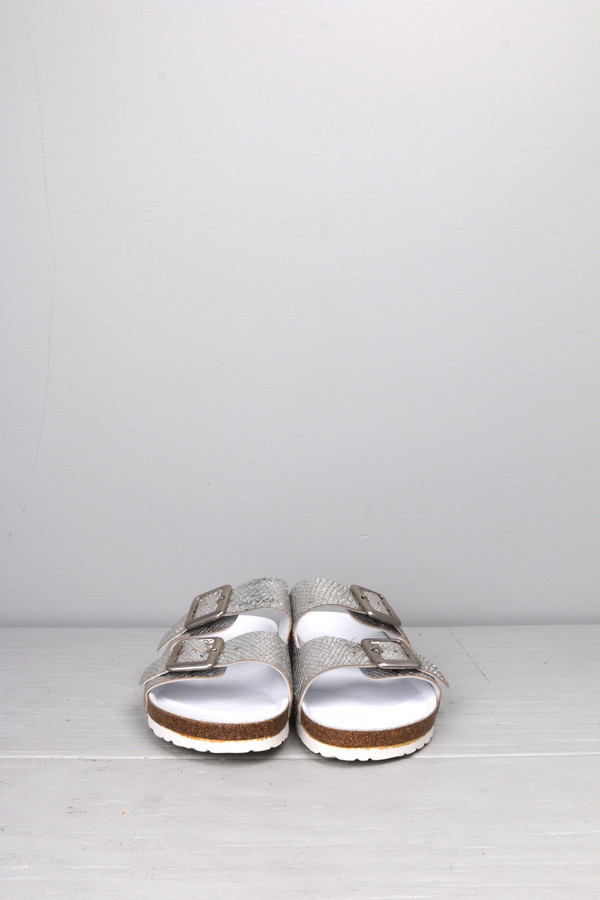 Leather Crown Silver Double Strap Sandal