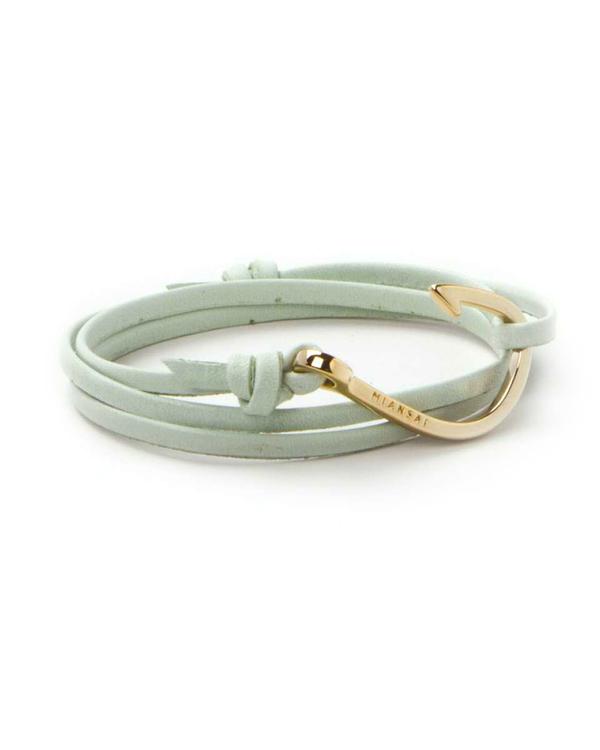 Miansai Gold Fish Hook And Mint Green Leather Wrap Bracelet