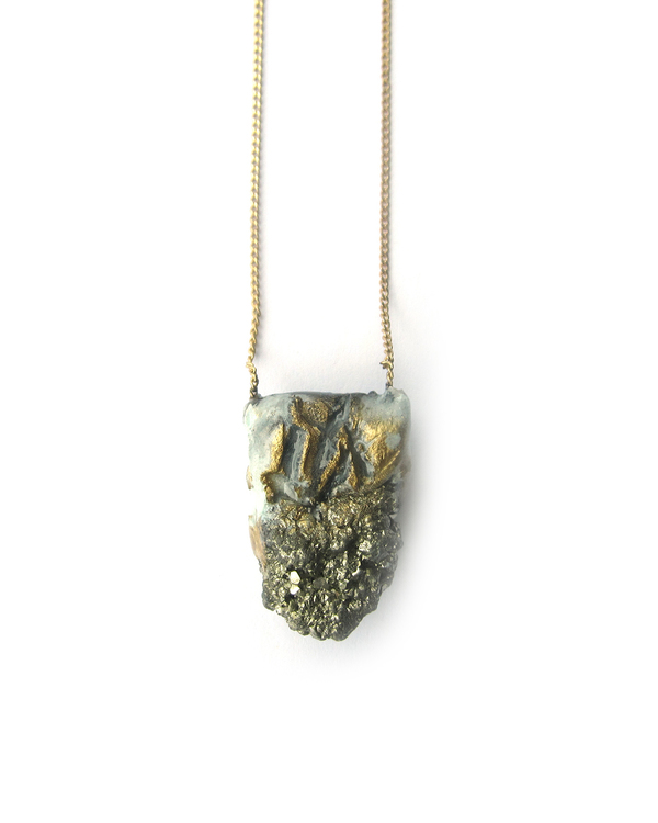 "Adina Mills Petite Pyrite Pendant on 18"" Brass Chain"