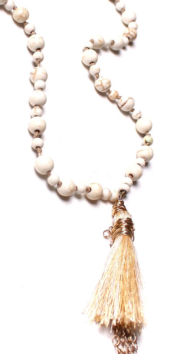 James and Jezebelle Howlite Beads & Gold Tassel Necklace