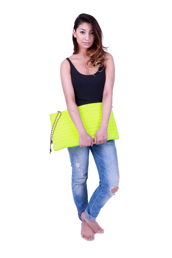 Neon Quilted Clutch