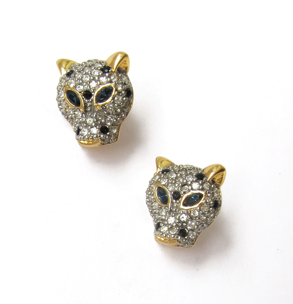 Rhinestone leopard earrings