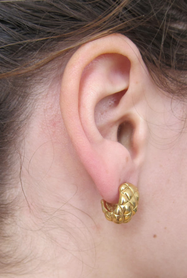 Gold quilted wrap earrings