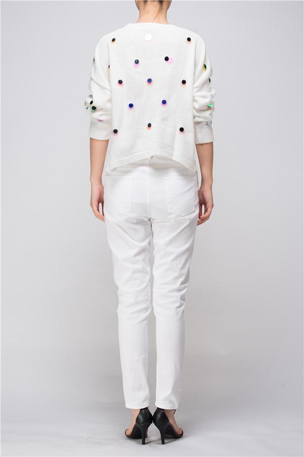 Few Moda Cropped Sequin Polka Dot Sweater
