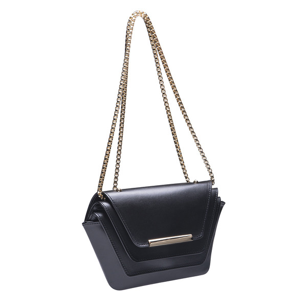 Ellia Wang Geometry Layer Clutch in Black Leather