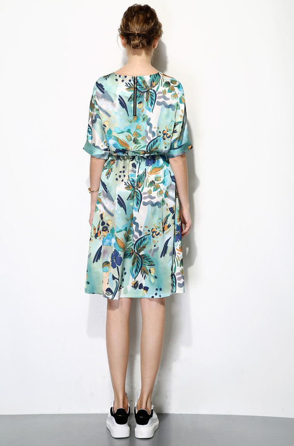 Few Moda Silk Tropical Print Midi Dress