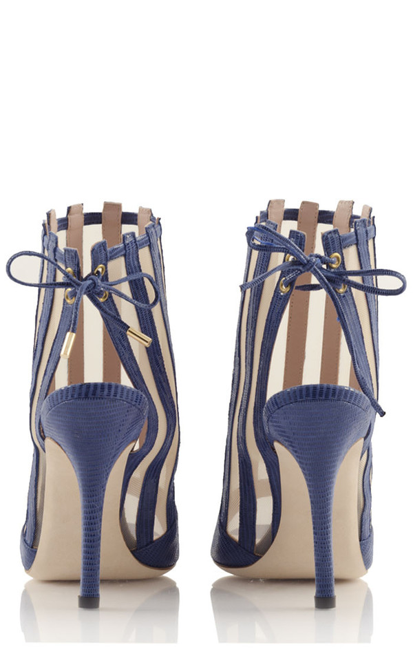 Konstantina Tzovolou Xena Navy Leather and Mesh High Sandal
