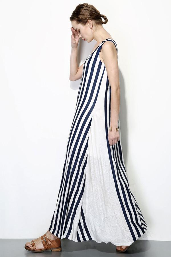 Nautical Striped Maxi Dress Navy/White
