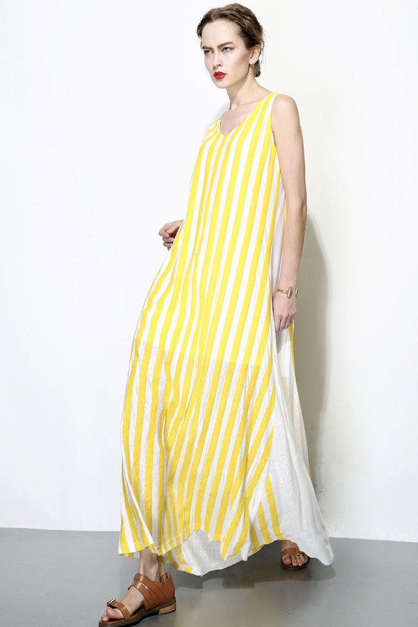 Nautical Striped Maxi Dress Yellow/White